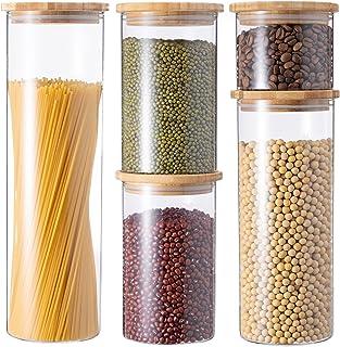 GENICOOK Vorratsdosen aus Glas mit Bambus Deckel Küche 5er-Set Vorratsgläser, Müsli Schüttdose & Frischhaltedosen, Aufkleb...