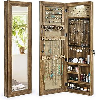 SRIWATANA - Armadietto portagioie con specchio, in legno massiccio, montaggio a parete o porta