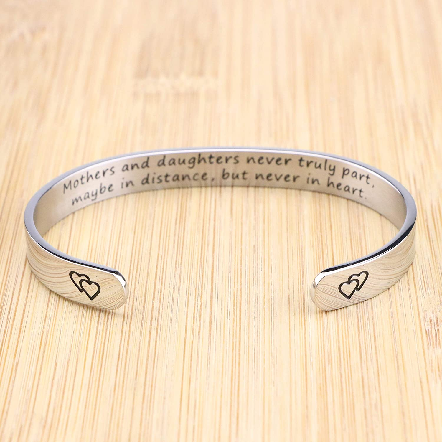 MEMGIFT Inspirational Bracelets for Women Encouragement Motivational Stainless Steel Cuff Bangle Christmas Birthday Gifts for Her Engraved Secret Message Mantra Jewelry
