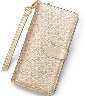 FOXER Women Leather Wallet Wristlet Wallet Bifold Clutch Wallet Large Capacity Gold