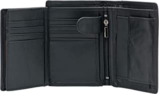 Large RFID Blocking Trifold Leather Wallet for Men with 3 ID Windows and Zipper Coin Pockets(Black)