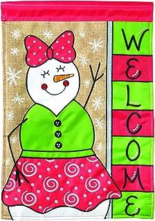Magnolia Garden Snowman Welcome Winter Whimsy 13 x 18 Small Double Applique Outdoor Holiday House Flag