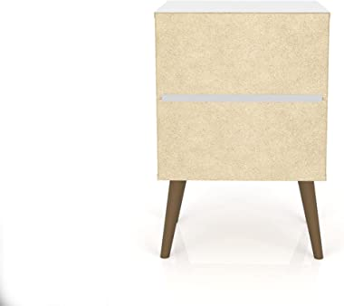 Manhattan Comfort Liberty Bedroom Nightstand/End Table, White/3D Brown