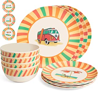 Markket Online Bamboo Dinnerware Set 12 Pieces - Camping, Kids and Family Reusable Dishes - Small and Large Plates, Bowls - Durable, Lightweight, Eco-Friendly, Non-Toxic Dishware Kitchen Home