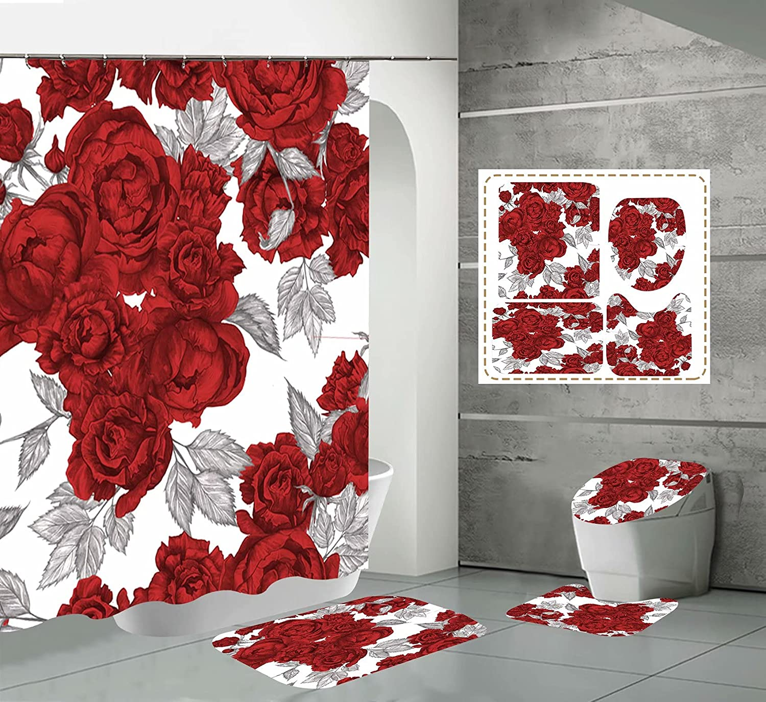 SlenyuBridal Directly managed store 4 Pcs Flowers Print Shower Set Today's only Curtain with Non-Sli