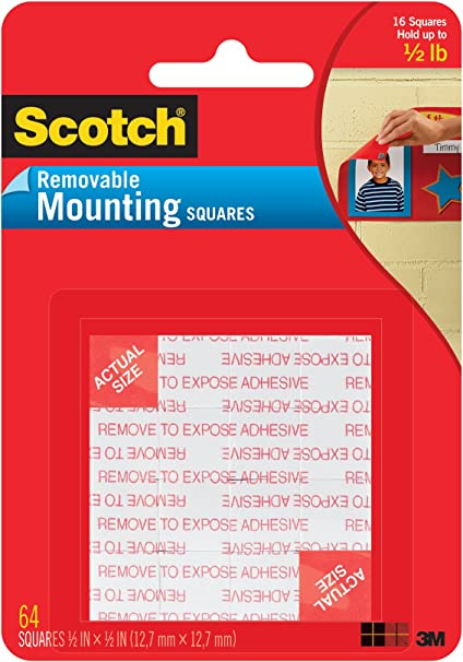 Fastening /& Surface Protection 108 Removable MOUNTNG 1X1IN 16PC White Scotch Mounting 1 16 Count- .1 Inch