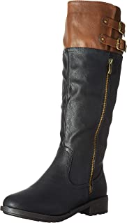 DREAM PAIRS Women's BRADENN Boot, black camel, 8.5 B(M) US M US