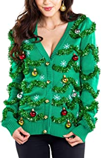 Women's Gaudy Garland Cardigan - Tacky Christmas Sweater with Ornaments
