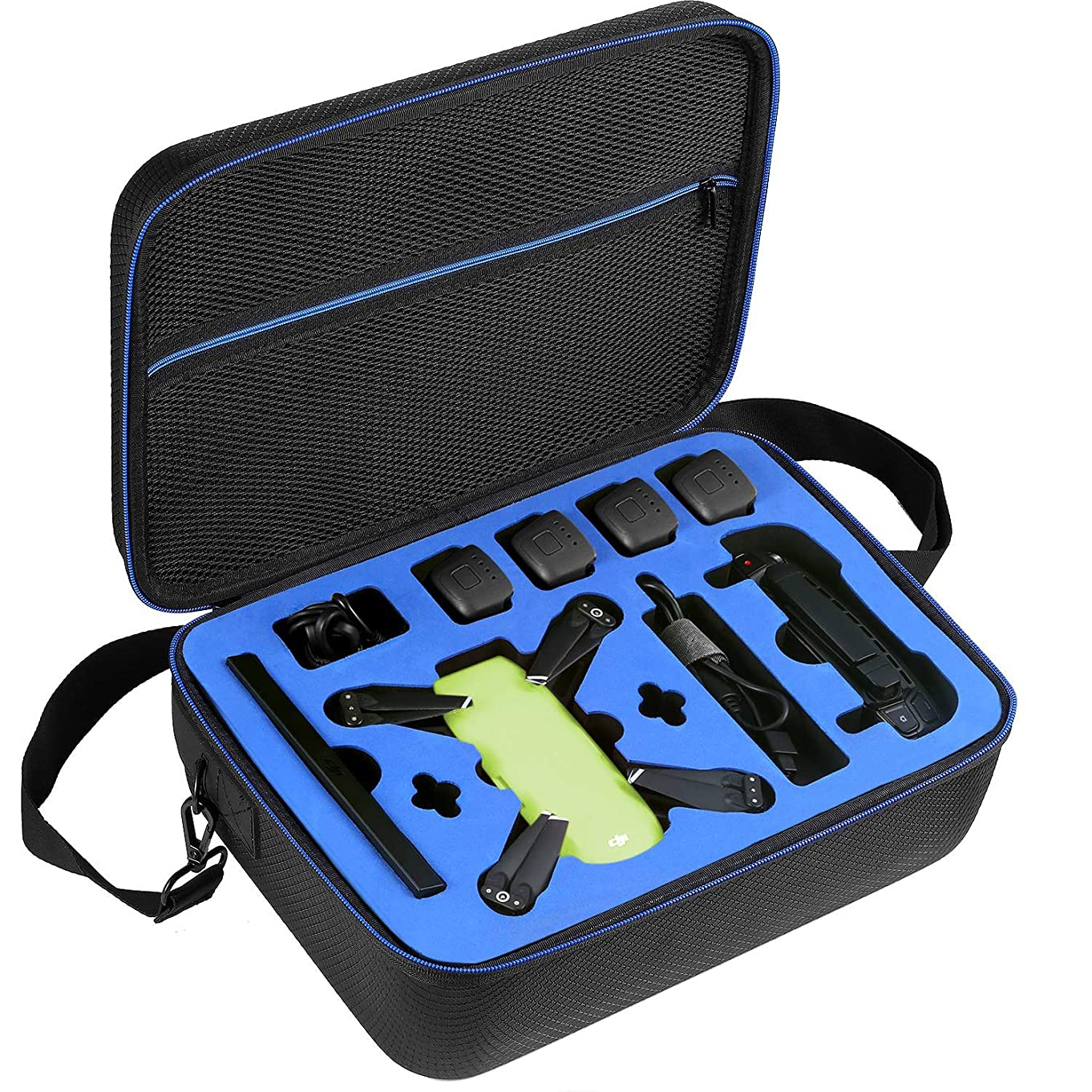 DACCKIT Travel Carrying Case Compatible with DJI Spark Fly More Combo - Fit DJI Spark Drone, 4x Intelligent Flight Batteries, Remote Controller, Charging Hub and other accessories