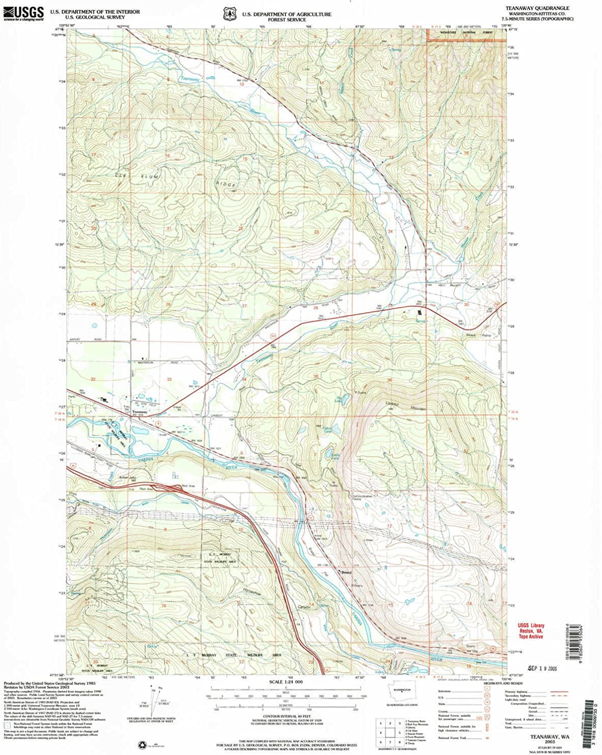 Teanaway WA topo map, 1 24000 Scale, 7.5 X 7.5 Minute, Historical, 2003, Updated 2006, 26.8 x 21.8 in