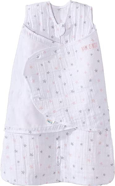 Halo 100 Cotton Muslin Sleepsack Swaddle Wearable Blanket Pink Stars Newborn