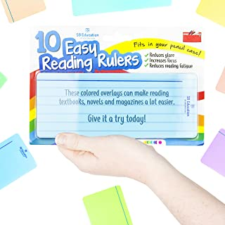 SB Education 10 x Dyslexia Reading Strips with Coloured Overlays. Reading Tracking Rulers for Dyslexia Irlens, ADHD and Visual Stress
