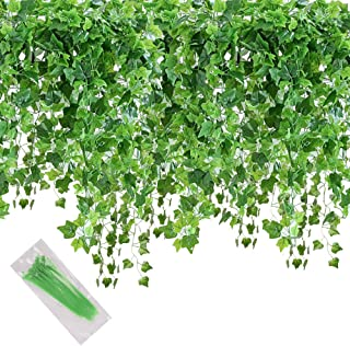 MerryNine Artificial Ivy Leaf, 84 Ft 12 Pack Hanging Vines Garland Fake Ivy Leaves Plants Fake Foliage Flowers Fake Greene...