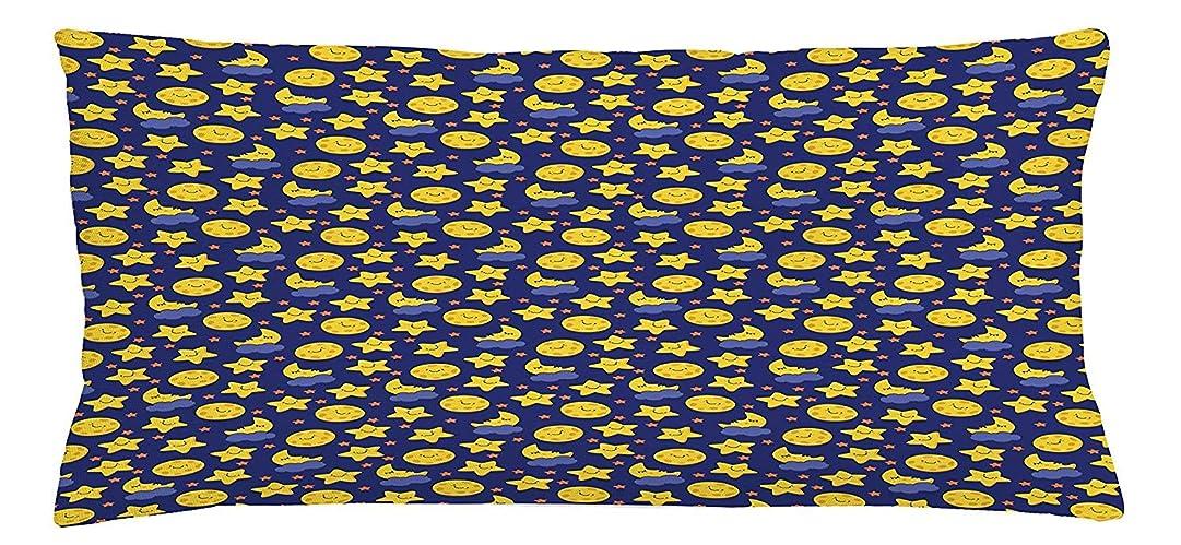 再生作り未来Baby Throw Pillow Cushion Cover, Funny Night Sky Chipper Moons and Stars Sleeping Time Abstract Cartoon, Decorative Square Accent Pillow Case, 18 X 18 inches, Yellow Orange Navy Blue