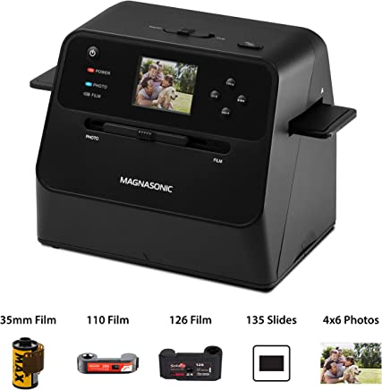 "$119 » Magnasonic All-in-One Film & Photo Scanner, 14MP Resolution, Converts 4x6 Photos, 35mm/110/126/Super 8 Film & 135 Slides into Digital JPEGs, Vibrant 2.4"" LCD Screen, Fast Scanning (FS60)"