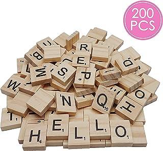 200PCS Scrabble Letters, DIY Making Scrabble Crossword Game,Wood Scrabble Tiles