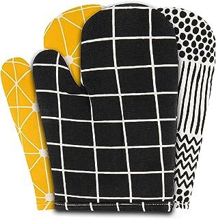 Sophie Nordinn rękawice kuchenne w kolorze czarnym – odporne na wysoką temperaturę rękawice do gotowania (zestaw 2 szt.) –...