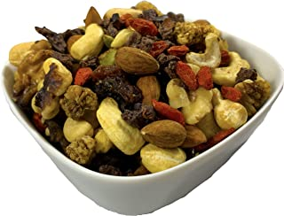 Raw Superfoods Trail Mix - Chocolate Nibs Mix (Dark Chocolate Covered Raw Cacao Nibs Sweetened with Yacon Syrup, Raisins, Almonds, Cashews, Walnuts, Goji Berries, White Mulberries, Pumpkin Seeds)