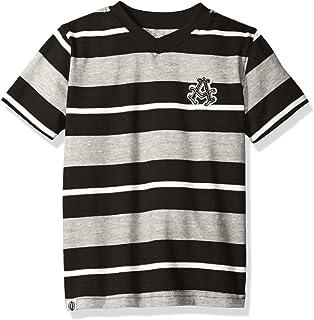 AKADEMIKS Boys' Short Sleeve Stripe V-Neck Tee, Black Spread, Medium