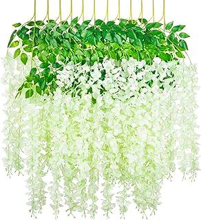 Myselfly 12 Pieces Artificial Silk Wisteria Flower Hanging Silk Vine Rattan Fake Bush Flower for Home Party Wedding Garden...