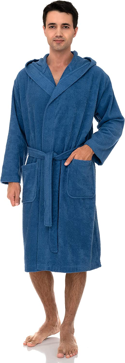 Turkish Cotton Terry Cloth Bathrobe TowelSelections Men/'s Hooded Robe