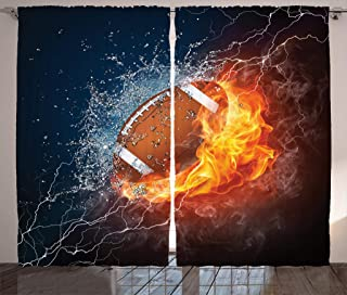 Ambesonne Sports Decor Collection, Football on Fire and Water Flame Splashing Thunder Lightning Abstract Print, Living Room Bedroom Curtain 2 Panels Set, 108 X 90 Inches, Navy Orange Peru White