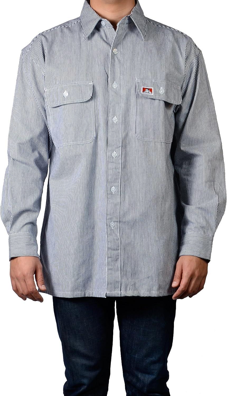 Ben Davis Men's Long Sleeve Striped Button-Up Work Shirt