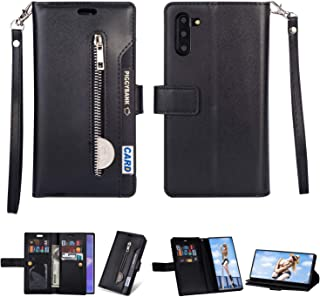 FLYEE Galaxy Note 10 Plus Wallet Case 5G, 10 Card Slots Premium Leather Zipper Purse case Flip Kickstand Folio Magnetic with Wrist Strap Credit Cash Cover for Samsung Galaxy Note 10+ 6.8 inch [Black]