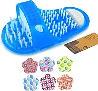 Noppor Bathroom Shower No Bending Feet Brush Foot Cleaning Bristle Slipper Bath Scrubber Massager Stick on Floor (Blue)