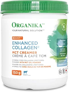 Organika Collagen Boost and MCT Oil Powder- Coffee Creamer, Clean Energy, Satiety-150 g