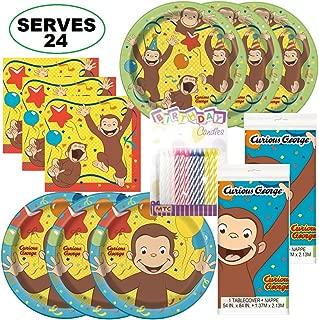 Curious George Super Bundle Party Supplies, Serves 24 Guests