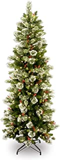 National Tree 7.5 Foot Wintry Pine Slim Tree with 400 Clear Lights, Hinged (WP1-310-75)
