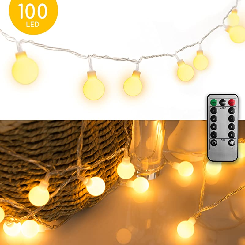33 FT 100 LED Globe Ball String Lights Fairy String Lights Plug In 8 Modes With Remote Decor For Indoor Outdoor Party Wedding Christmas Tree Garden Warm White