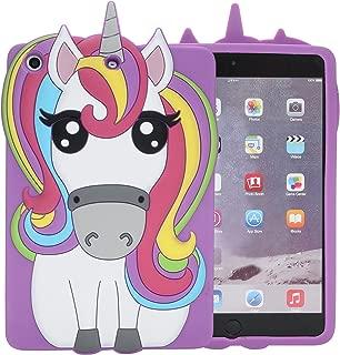 iPad Mini Case,Phenix-Color 3D Cute Soft Silicone [Drop Proof,Shock Proof,Anti Slip] Cartoon Gel Rubber Back Cover Case for iPad Mini 1 2 3 (Rainbow Horse)