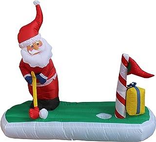 BZB Goods 5 Foot Long Christmas Inflatable Santa Claus Play Golf Yard Decoration Lights Decor Outdoor Indoor Holiday Decor...