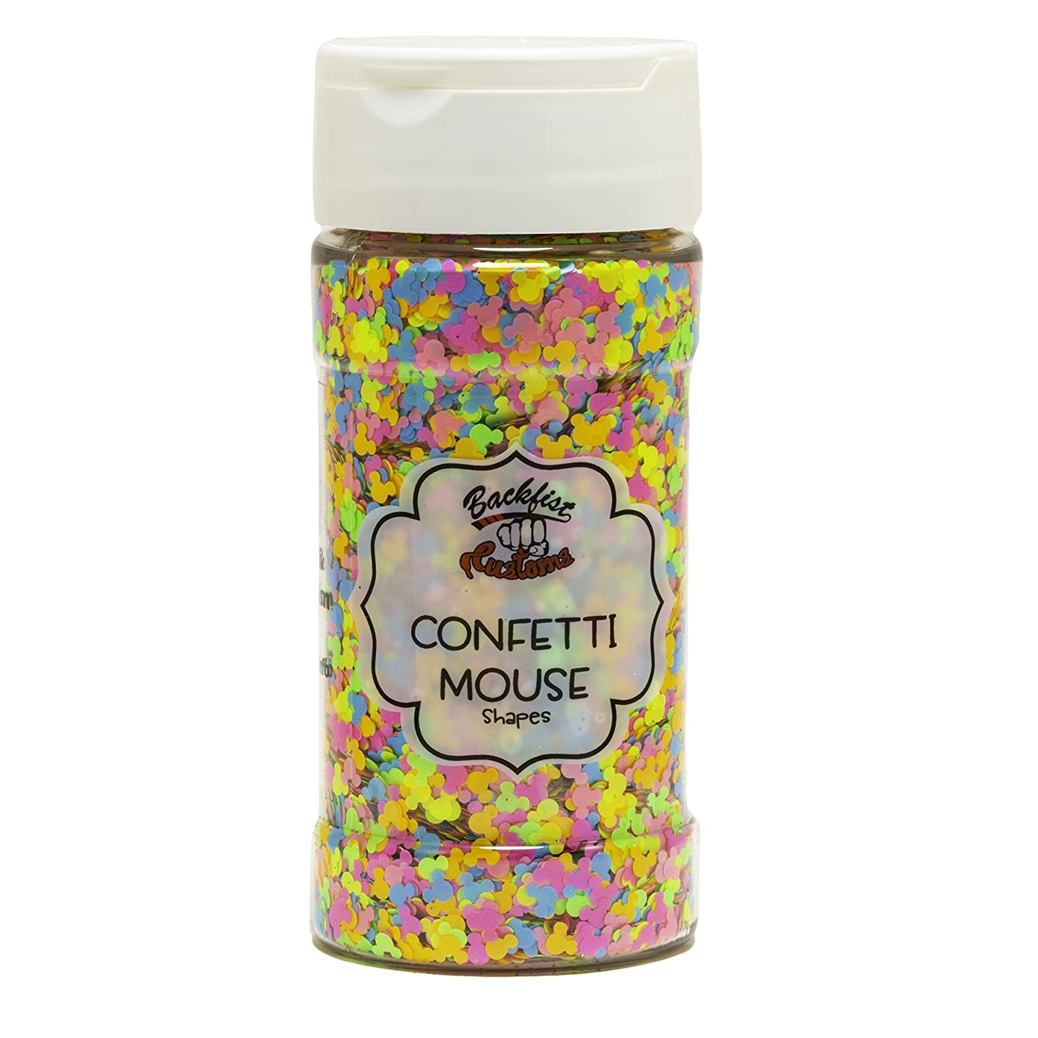 Backfist Customs Glitter Confetti Mouse Premium Polyester Glitter Multi Purpose Dust Powder 4oz for use with tumblers Slime Arts & Crafts Wine Glass Decoration Weddings Cards Flowers Cosmetic Face
