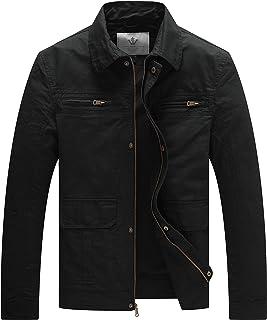 WenVen Men`s Outdoor Work Wear Casual Military Lapel Zip Jacket
