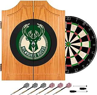 NBA Milwaukee Bucks Wood Dart Cabinet Set