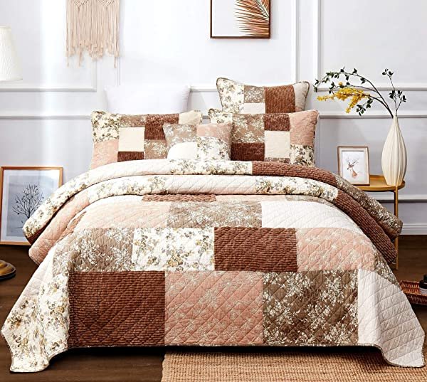 DaDa Bedding Bohemian Patchwork Bedspread Dusty Tea Rose Mauve Pink Chocolate Brown Floral Soft Quilted Coverlet Set Cal King 3 Pieces