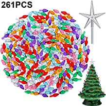 Gejoy 261 Pieces Plastic Ceramic Christmas Tree Bulbs Multi Color Plastic Light Decorations with Plastic Box for Christmas Tree Ornaments, Light and Star Shape