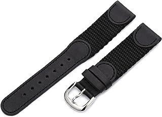 Hadley-Roma 18mm `Men`s` Leather Watch Strap, Color:Black (Model: MSM866RA 180)