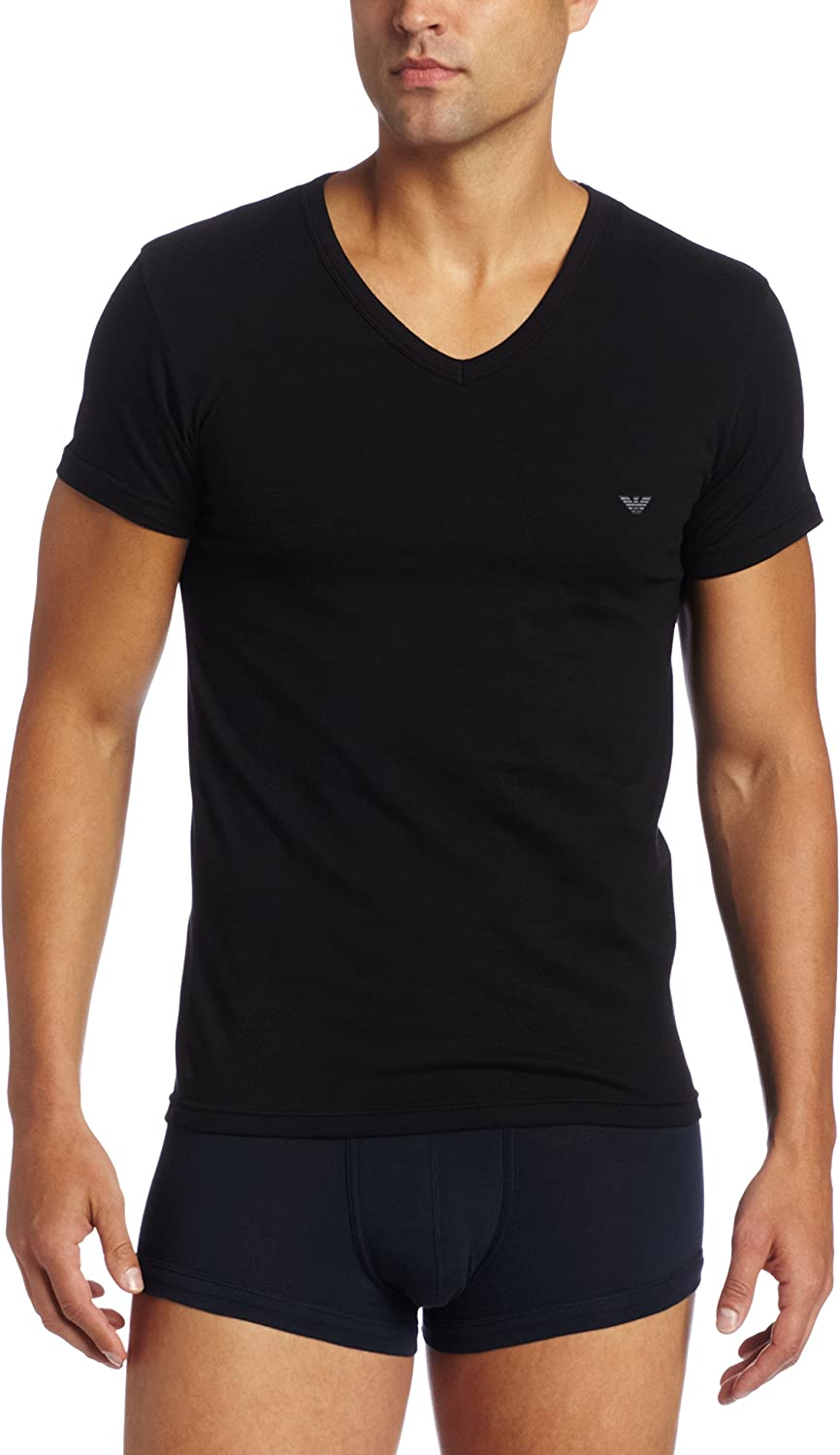 Amazon Com Emporio Armani Men S Cotton Stretch Vneck Clothing