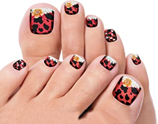 Pedicure Nail Stickers - Self Adhesive Toe Decals; Set of 22