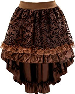 Charmian Women's Steampunk Retro Gothic Vintage Satin High Low Skirt with Zipper
