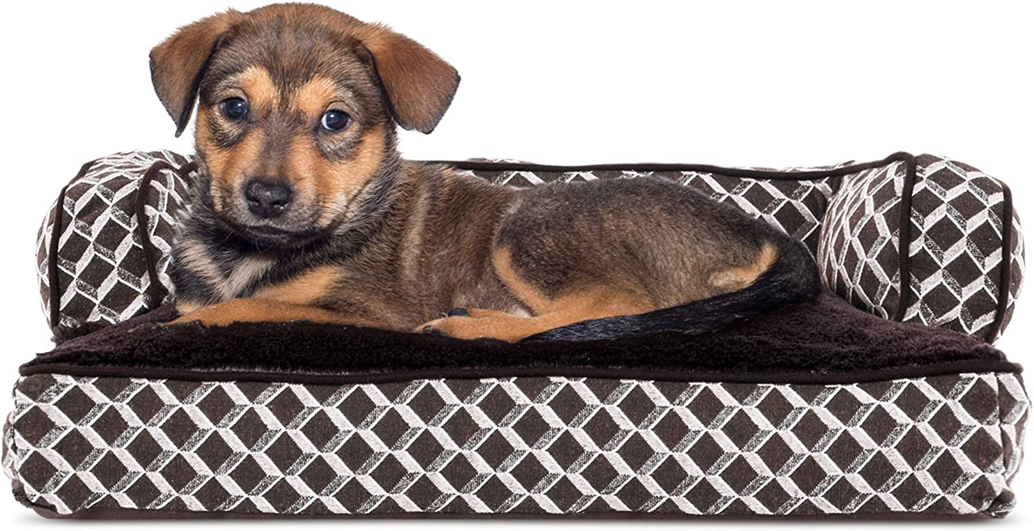FurHaven Pet Dog Bed   Plush & Decor Comfy Couch Pillow SofaStyle Couch Pet Bed for Dogs & Cats, Diamond Brown, Small