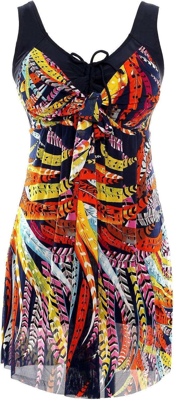 NoNoCat Flower Printing Modest 1 Piece Swimwear Cover Up Swimdress Plus Size for WomenXL(US 1618), Feather