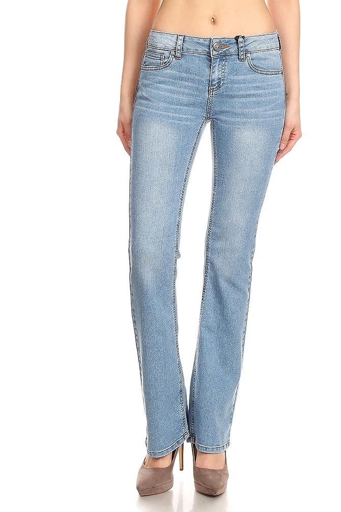 wax jean Women's Flared Bell Bottom Mid Rise Juniors Jeans
