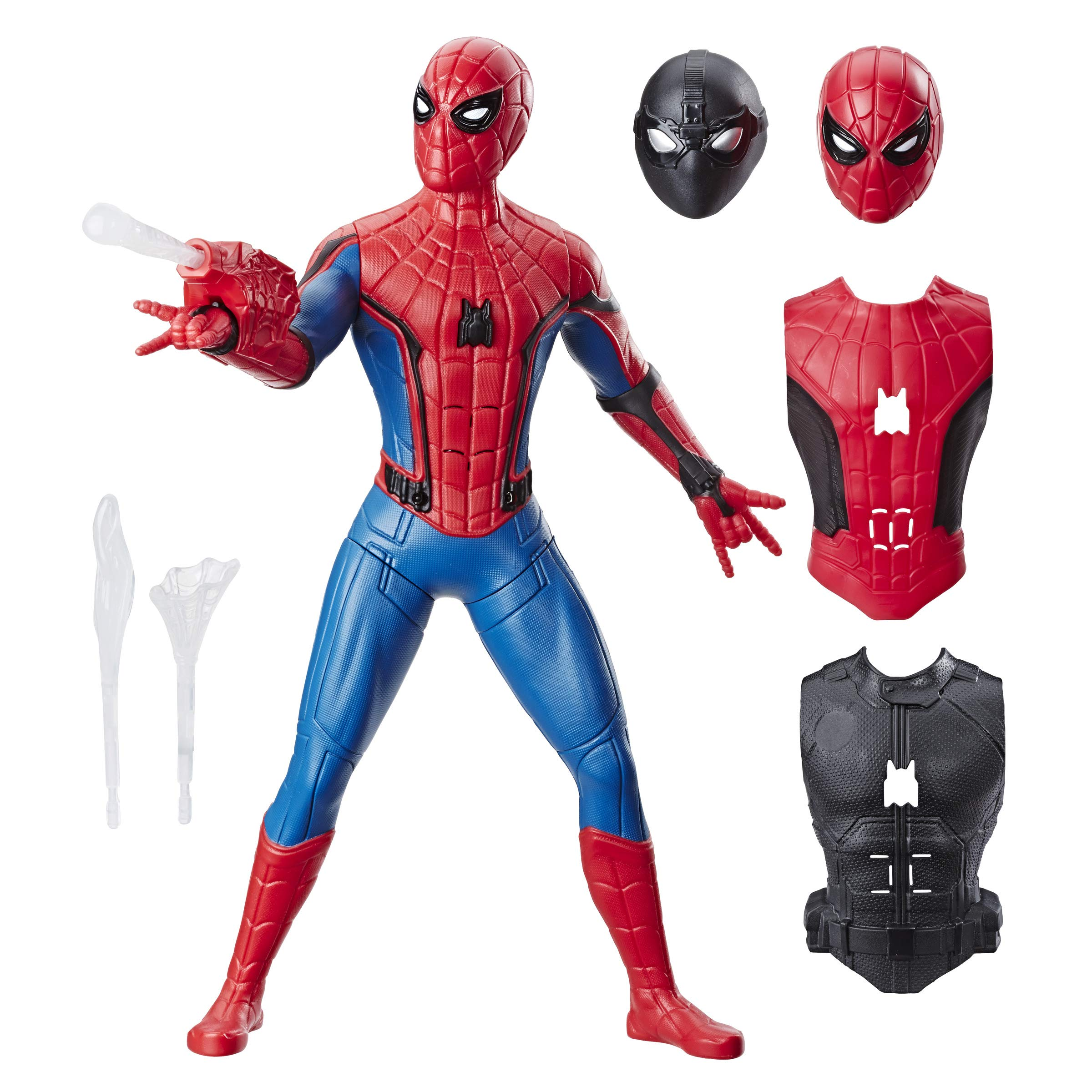 Amazon Com Spider Man Far From Home Deluxe 13 Inch Scale Web Gear Action Figure With Sound Fx Suit Upgrades And Web Blaster Accessory Toys Games
