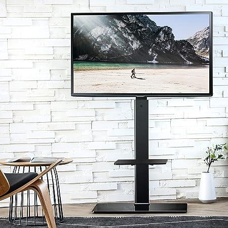 FITUEYES テレビスタンド 壁寄せテレビスタンド 高さ調節可能 ラック回転可能 ブラック TT207001MB 2段式