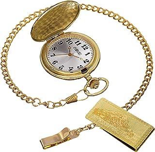 Men's AS8144 Silver & Gold Etched Train Design Quartz Pocket Watch & Money Clip Set